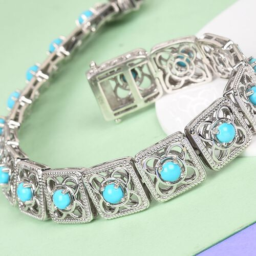 AA Arizona Sleeping Beauty Turquoise Bracelet (Size 8) in Platinum Overlay Sterling Silver 4.50 Ct, Silver wt 20.45 Gms
