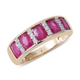 Limited Edition - 9K Yellow Gold AAA Burmese Ruby (Ovl 2.54 Ct), Natural Cambodian White Zircon Ring 2.680 Ct.