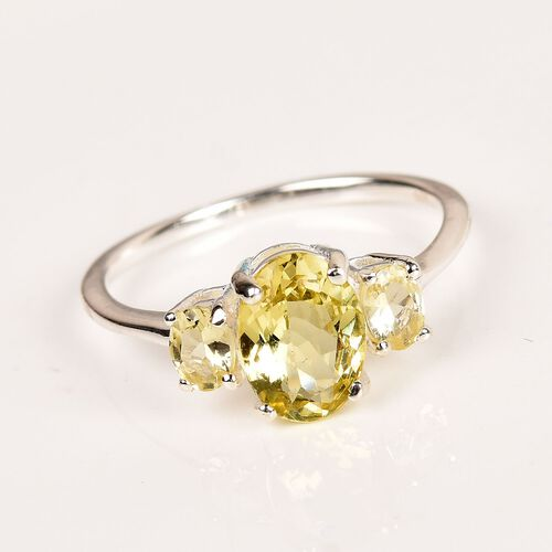 AA Madagascar Yellow Apatite Trilogy Ring in Sterling Silver 1.50 Ct.