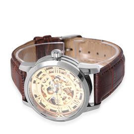 GENOA  Automatic Skeleton Water Resistant Watch with Brown Leather Strap