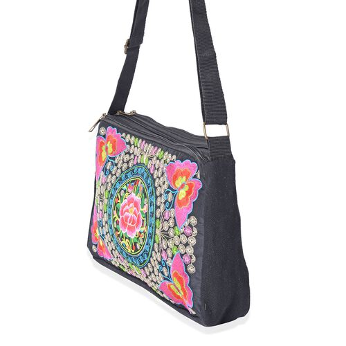 Shanghai Collection Butterfly Embroidery  Cross Body Bag with Adjustable Shoulder Strap (Size 27x16.5x7.5 Cm) - Colour Black
