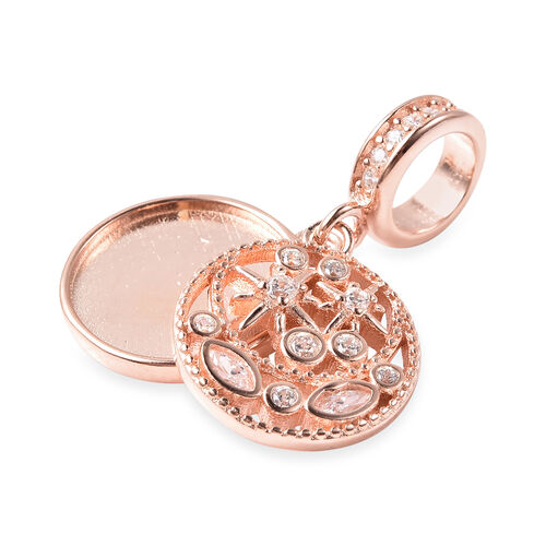 Charmes De Memoire - Simulated Diamond Charm in Rose Gold Overlay Sterling Silver  Charm/Pendant