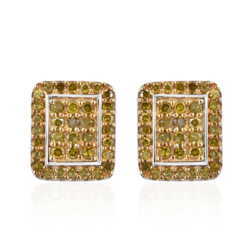 Yellow Diamond (Rnd) Earrings (with Push Back) in Platinum and Gold Overlay Sterling Silver 0.500 Ct