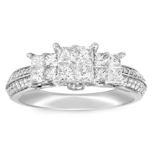 NY Close Out 14K White Gold Diamond (I1/G-H) Ring 1.00 Ct.