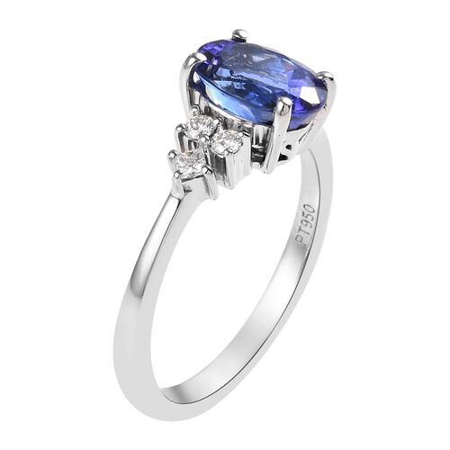RHAPSODY 950 Platinum AAAA Tanzanite (Ovl), Diamond Ring 1.75 Ct.