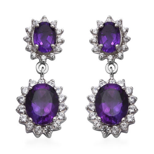 Lusaka Amethyst and Natural Cambodian Zircon Earrings (with Push Back) in Rhodium Overlay Sterling S