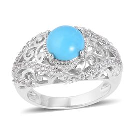 2.36 Ct Sleeping Beauty Turquoise and White Zircon Halo Ring in Sterling Silver 4.2 Grams