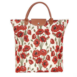 SIGNARE - Tapastry Collection - Poppy Foldable Shopping Bag/Large Tote Bag (38 x 35.5 x 9 Cms)