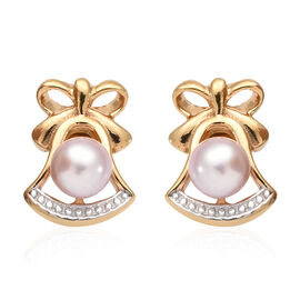 Fresh Water Pearl - Pink (Rnd) Stud Earrings (with Push Back) in 14K Gold Overlay Sterling Silver