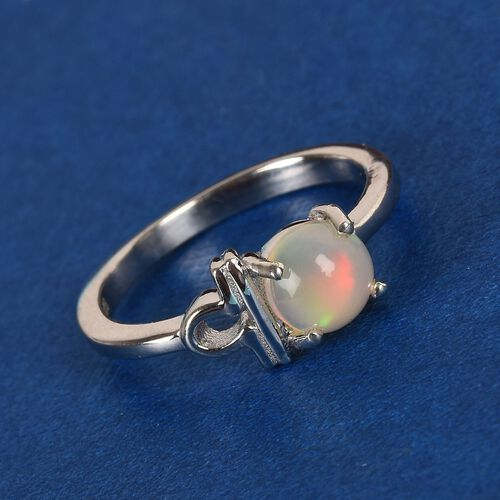AA Ethiopian Welo Opal Zodiac-Libra Ring in Platinum Overlay Sterling Silver 0.50 Ct.