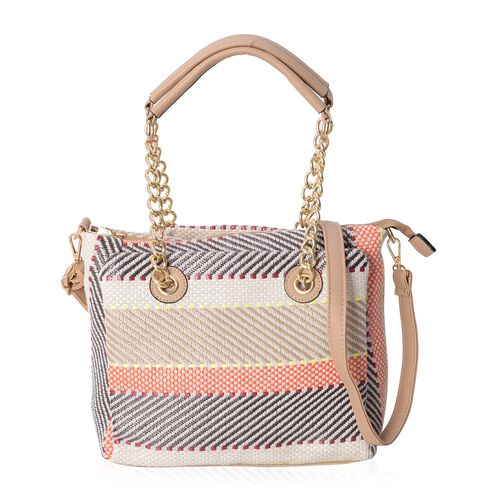 Off White, Black and Multi Colour Tote Bag with Removable and Adjustable Shoulder Strap (Size 27x25x