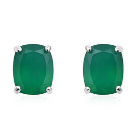 Verde Onyx (Cush 10x8 mm) Stud Earrings (with Push Back) in Sterling Silver 5.30 Ct.