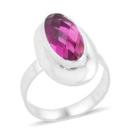 Royal Bali Collection Radiant Orchid Triplet Quartz (Ovl) Solitaire Ring in Sterling Silver 5.970 Ct. Silver wt 4.28 Gms.