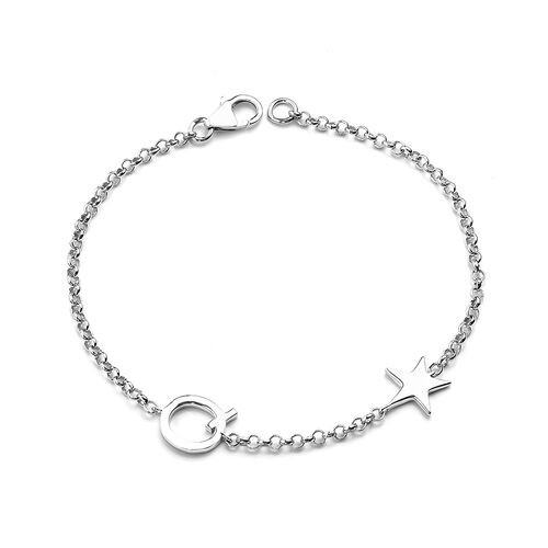 Personalise Single Alphabet + Star, Name Bracelet  in Silver, Size - 7.5 Inch