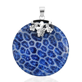 Royal Bali Collection - Blue Coral Round Pendant in Sterling Silver