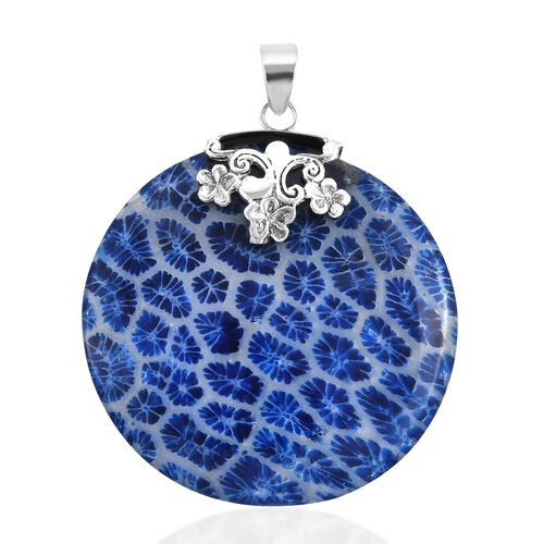 Royal Bali Collection Blue Coral Round Pendant in Sterling Silver
