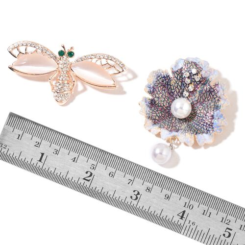 Set of 2 - Simulated White Cats Eye, Simulated White Pearl, White and Green Austrian Crystal Enameled Morning Dew on Leaf and Bee Brooch or Pendant in Rose Gold Tone