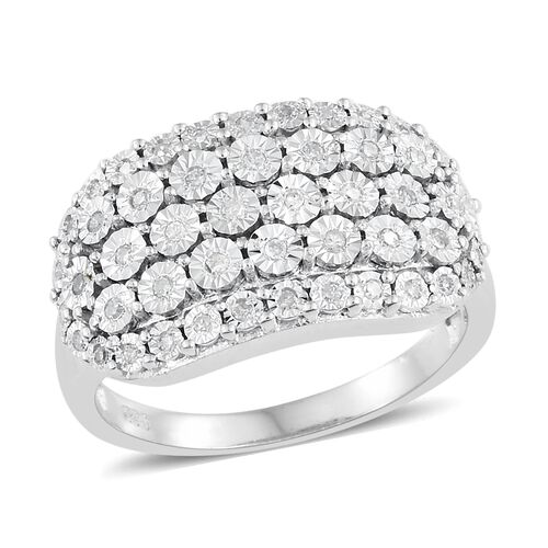 Designer Inspired - Diamond (Rnd) Cluster Ring in Platinum Overlay Sterling Silver 0.250 Ct. Silver wt 5.42 Gms.