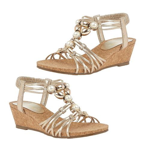 Lotus Amy Wedge Sandals (Size 3) - Gold
