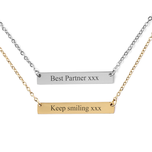 Personalised Engravable Bar Necklace, Size 17.5+2 Inch