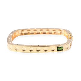 RACHEL GALLEY 0.91 Ct Russian Diopside Love Bangle in Gold Plated Sterling Silver 27.2 Gms 7.5 Inch