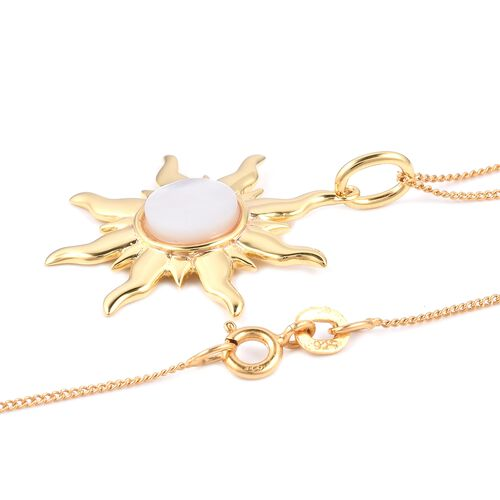 White Mother of Pearl (8mm) Sun Pendant with 18 Inch Chain in Gold Plated Sterling Silver