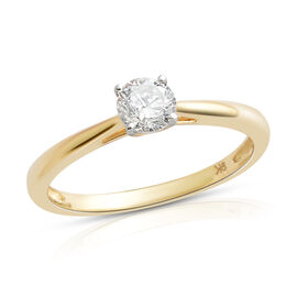 0.50 Ct Diamond Solitaire Ring in 9K Gold SGL Certified I3 GH