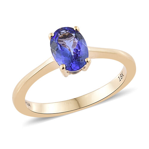 ILIANA 1 Carat AAA Tanzanite Solitaire Ring in 18K Gold 2.84 Grams