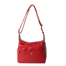 100% Genuine Leather Crossbody Bag with Multiple Pockets and Zipper Closure ( Size 30x23x10cm) - Win
