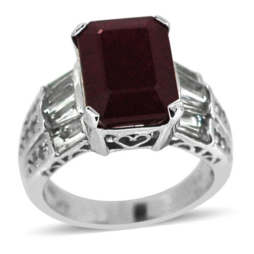 African Ruby (Oct 8.00 Ct), White Topaz Ring in Rhodium Plated Sterling Silver 10.060 Ct.