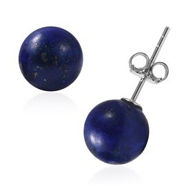 Lapis Lazuli (Rnd) Earrings (with Push Back) in Rhodium Overlay Sterling Silver 9.00 Ct.