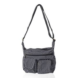 Annabelle Water Resistan Black White dots Cross Body Bag with Adjustable Shoulder Strap (Size 26x25x10 Cm)