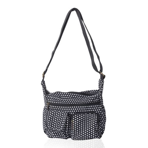 Annabelle Water Resistant Black White dots Cross Body Bag with Adjustable Shoulder Strap (Size 26x25