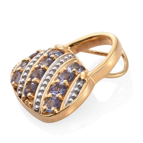 Tanzanite (Rnd) Handbag Design Pendant in 14K Gold Overlay Sterling Silver 1.000 Ct.
