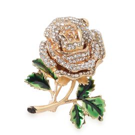 White Austrian Crystal (Rnd) Rose Flower Brooch in Yellow Tone with Enameled