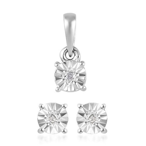 2 Piece Set -  White Diamond Solitaire Pendant and Stud Earrings (with Push Back) in Platinum Overla