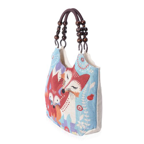 Blue and Multi Colour Fox Pattern Jacquard Tote bag (Size 41x29x11 Cm)