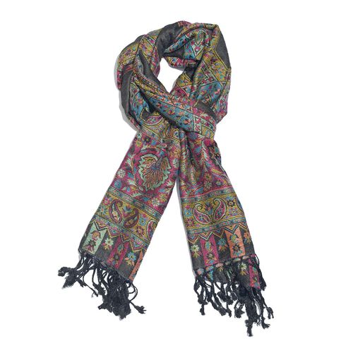 Black, Pink and Multi Colour Paisley and Floral Pattern Reversible Jacquard Scarf with Tassels (Size