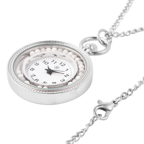 STRADA Japanese Movement Pocket Watch with Chain (Size 30) and Moving White Howlite Beads Around the Dial in Silver Tone