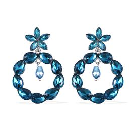 Simulated London Blue Topaz Earrings (with Push Back) in Silver Tone