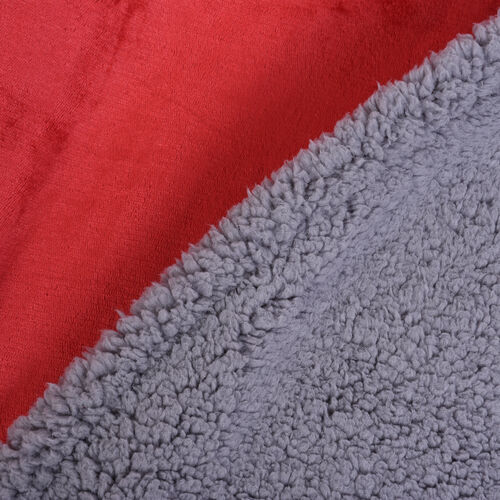 Serenity Night Double Layer Wine Red and Grey Colour Sherpa Blanket (Size 200x150cm)