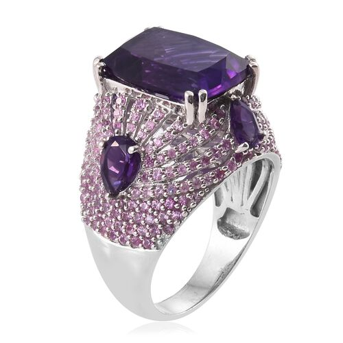 Lusaka Amethyst (Cush 16x12mm10.80 Ct), Pink Sapphire Ring in Platinum Overlay Sterling Silver 15.000 Ct. Silver wt. 9.44 Gms. Number of Gemstones 229