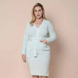 LA MAREY 100% Acrylic Ribbed Knit Skirt - Ice Green Colour