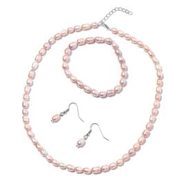 3 Piece Set - Freshwater Lavender Necklace (Size 18 with 1 inch Extender) Bracelet (Size 6.50) and H