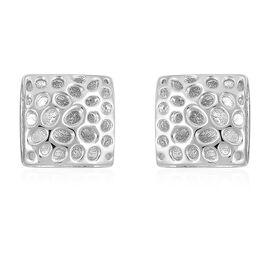 RACHEL GALLEY Lattice Honeycomb Stud Earrings in Rhodium Plated Silver 5.23 grams