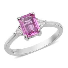 RHAPSODY 950 Platinum AAAA Madagascar Pink Sapphire and Diamond (VS/E-F) Ring 1.60 Ct, Platinum wt.