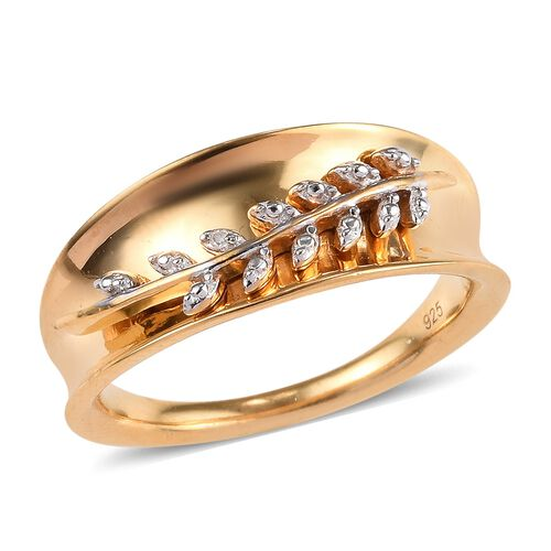 Diamond Fern Leaf Band Ring in Platinum and Gold Plated Sterling Silver