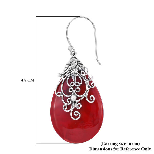 Royal Bali Collection - Sponge Coral Hook Earrings in Sterling Silver