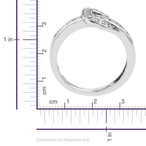 J Francis - Platinum Overlay Sterling Silver (Rnd) Buckle Ring Made with SWAROVSKI ZIRCONIA