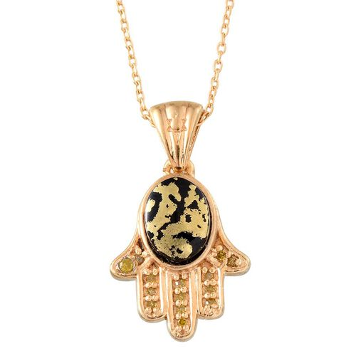 Goldenite (Ovl 1.00 Ct), Yellow Diamond Hamsa Hand Pendant With Chain (Size 20) in 14K Gold Overlay Sterling Silver 1.050 Ct.